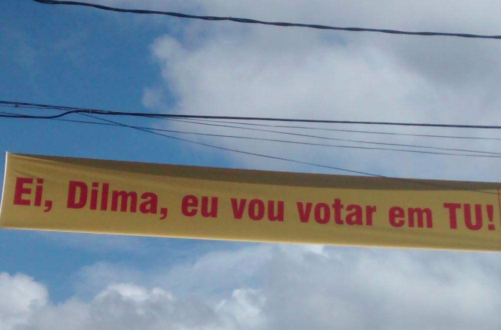 Faixa em homenagem a Dilma, em Salvador - Foto de João Pedro Pitombo/Folhapress