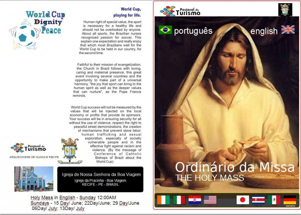 Reprodução de livro com os ritos produzidos pela Arquidiocese de Olinda e Recife para as missas durante a Copa Crédito: Arquidiocese de Olinda e Recife/Divulgação