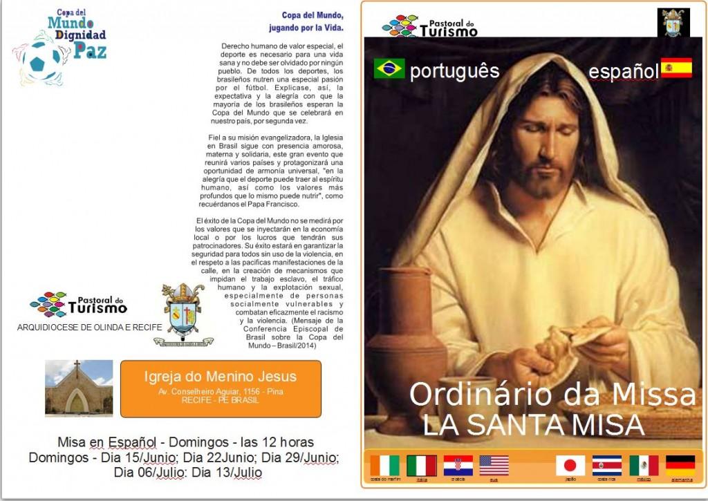 Reprodução de livro com os ritos para as missas durante a Copa no Recife Crédito: Arquidiocese de Olinda e Recife/Divulgação