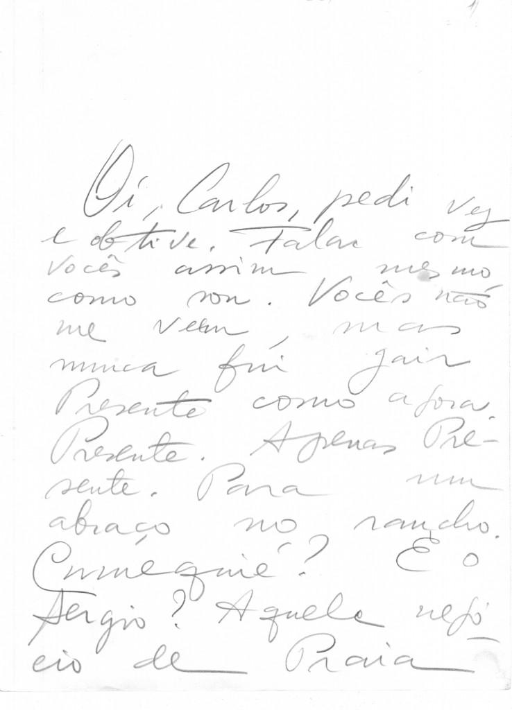 Página de uma das cartas atribuídas a Jair Presente, psicografada por Chico Xavier - Reprodução