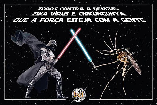 Em campanhas nas redes sociais, Prefeitura de  Ribeirão Preto coloca Darth Vader contra o mosquito da dengue (Divulgação/Prefeitura de Ribeirão Preto)