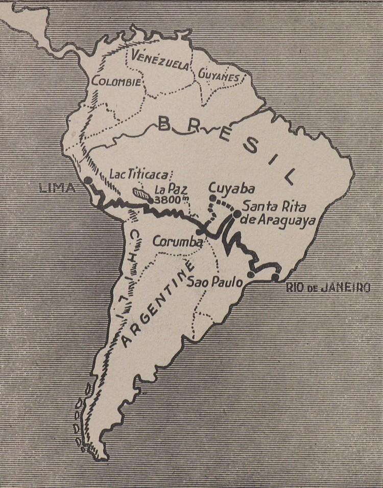 Mapa da América so Sul com o traçado da viagem do francês Roger Courteville entre o Rio e Lima, no Peru - Divulgação